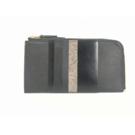 リオワ RIOWA 長財布 レディース 美品 黒×シルバー L字ファスナー レザー【中古】