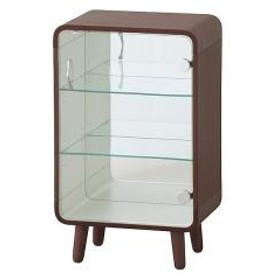 10%OFFクーポン対象商品 コレクションケース 3段 ガラス扉 背面ミラー 脚付 曲げ木風 幅36cm ブラウン クーポンコード:KZUZN2T