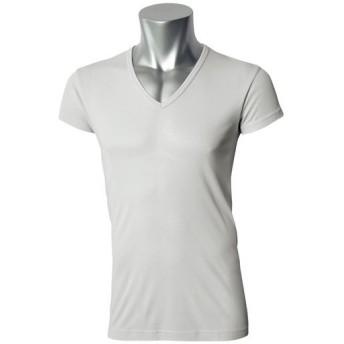【メンズ】 男の汗消臭・抗菌防臭スマートドライ1分袖深Vネックシャツ - セシール ■カラー:ライトグレー ■サイズ:LL,M,S,L,3L,5L