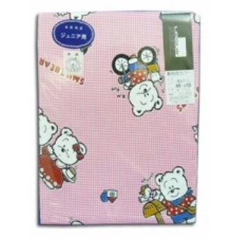 敷ふとんカバー(綿100%日本製) 敷きカバー チェック90×185 ジュニアーサイズ ピンク しろくま (m08279)
