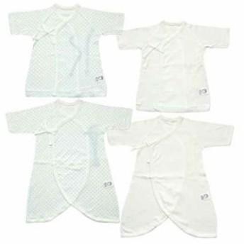 日本製 新生児肌着4点セット 水玉&無地 メルマ加工フライス 50cm[MI1400-4](サックス, 50)
