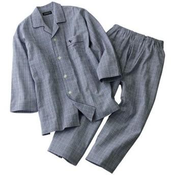 【メンズ】 袖もパンツもちょい短め!8分袖&8分丈シャツパジャマ・GEORGEKENT - セシール ■カラー:ネイビー系 ■サイズ:L,LL,M,S