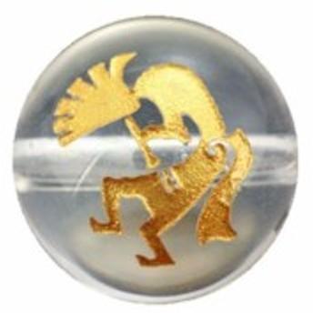 ココペリ・水晶・彫刻ビーズ(金入り)12mm 【彫刻 一粒売りビーズ】 ブラジル産 天然石 風水 パワーストーン