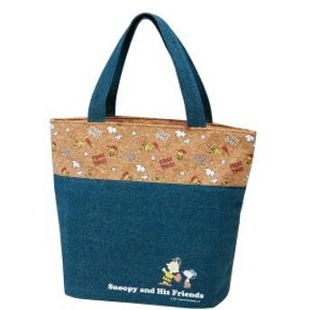 ランチバッグ コルク×デニムランチバックM スヌーピー トートバッグ キャラクター ( 保冷 保冷ランチバッグ クーラーバッグ お弁当袋