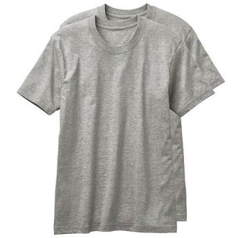 【メンズ】 男の綿100%半袖クルーネックTシャツ・2枚組 - セシール ■カラー:グレー系 ■サイズ:5L,S,M,L,3L,LL
