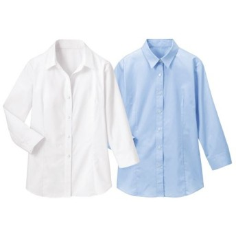 【レディース】 形態安定2枚組レギュラーカラーシャツ(七分袖) - セシール ■カラー:ホワイト+ブルー ■サイズ:S,M,L,3L,LL