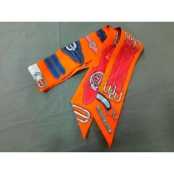 エルメス HERMES スカーフ レディース 美品 ツィリー オレンジ×ネイビー×マルチ ベルト柄【中古】