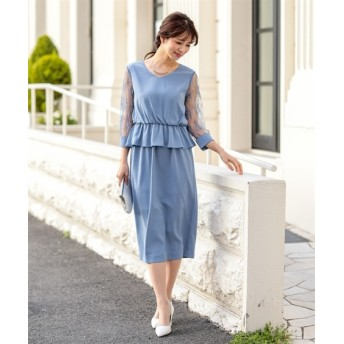 袖レース使いペプラムデザインワンピースドレス