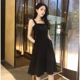 韓国ファション 肩出し キャミソールワンピース レディース 黒ワンピース 大きいサイズ 可愛いワンピース 着痩せ ドレス 肌出し ワンピー