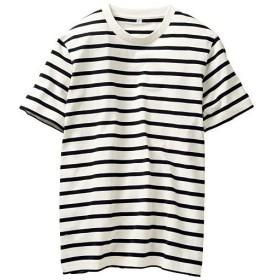 【メンズ】 オーガニックコットン100%Tシャツ(半袖) 糸の製法にまでこだわった一枚。 - セシール ■カラー:ボーダーA(ホワイト×ネイビー) ■サイズ:5L,S,7L,L,3L,M,LL
