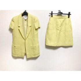 シャネル CHANEL スカートスーツ サイズ38 M レディース イエロー ツイード/3点セット【中古】