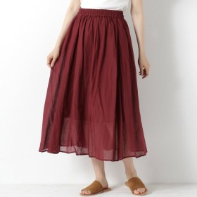 スカート レディース ロング インド綿素材のボイルフレアスカート 「レッド」