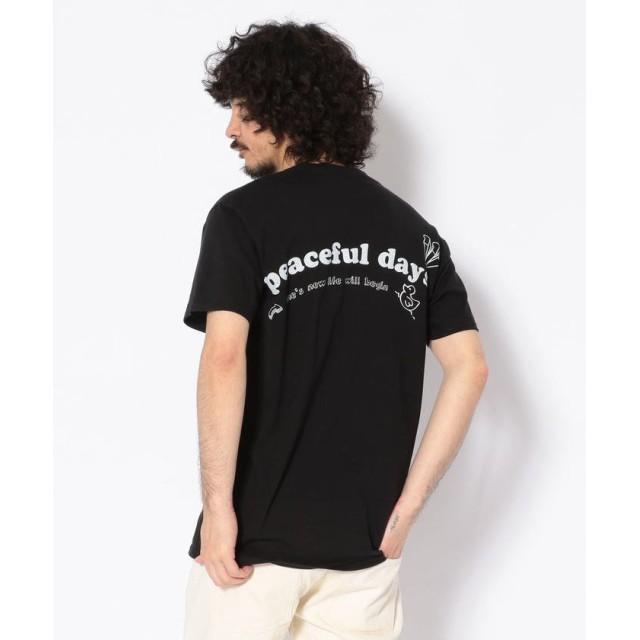 ロイヤルフラッシュ 1PIU1UGUALE3 RELAX/ウノ ピゥ ウノ ウグァーレ トレ リラックス/別注 グラフィックプリントTシャツ メンズ BLACK M 【RoyalFlash】