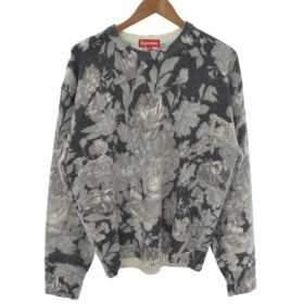 SUPREME(シュプリーム)19SS Printed Floral Angora Sweaterフローラル総柄クルーネックニットセーター グレー
