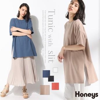 Honeys ハニーズ スリット入りチュニック 【WEB限定LLサイズ有】