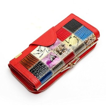 (ゆとり生活)財布 レディース 牛革 長財布 人気 おススメ ラウンドファスナー 女性 ギャルソンウォレット 大容量 小銭入れ カード入れ ハンドバッグ スプライス 多機能