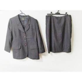 レリアン Leilian スカートスーツ サイズ13 L レディース 美品 ダークグレー×レッド ストライプ【中古】