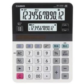 (まとめ) カシオ CASIO ツイン液晶電卓 ミエ2くん 12桁+12桁 ミニジャストタイプ MV-220W-N 1台 【×3セット】