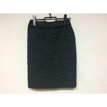 フランコフェラーロ FRANCO FERRARO スカート サイズ2 M レディース 美品 黒 フラワーキルティング【中古】