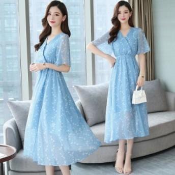 青いビーチスカート女性の夏の新しいバリの海辺の休日のドレスシフォンスリム気質のドレス
