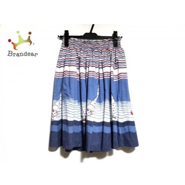 ダブルスタンダードクロージング スカート レディース 美品 ブルー×白×レッド 新着 20190525