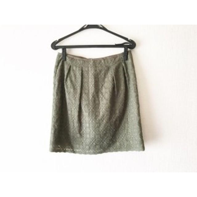 ニジュウサンク 23区 スカート サイズ40 M レディース 美品 ダークグリーン 刺繍【中古】