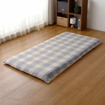 敷きふとんカバー 日本製 綿100% チェック模様 シングルロングサイズ 105×215cm 敷きカバー 敷カバー 敷き布団カバー シングル