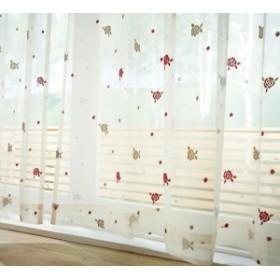 【日本製】 可愛いバラ柄のレースカーテン 幅100×丈133cm [2枚組](代引不可)【送料無料】