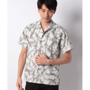 マルカワ 綿 アロハシャツ 総柄 プリント オープンカラー メンズ シロモク S 【MARUKAWA】
