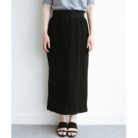 ハコ 気軽にはいてもオンナっぽさを忘れない変わりワッフルタイトスカート by MAKORI レディース ブラック LL 【haco!】