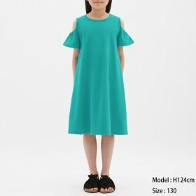 (GU)GIRLSオープンショルダーワンピース(半袖) BLUE 110