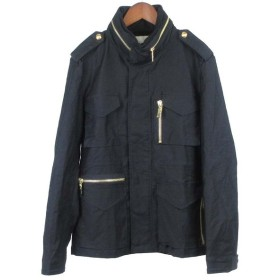 BRIGHT THINGS(ブライトシングス)M-65型ゴールドジップミリタリーロングスリーブシャツジャケット ブラック 黒