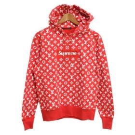 SUPREME(シュプリーム)17AW×LOUIS VUITTON Box Logo Hooded Sweatshirt ボックスロゴプルオーバーパーカー レッド