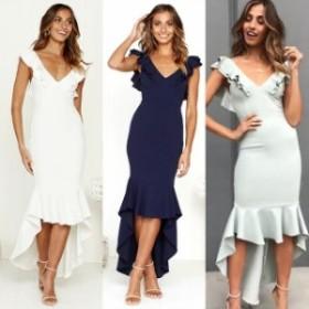 ロングドレス マーメイドライン パーティードレス 結婚式 マキシ丈 ワンピース ドレス ノースリーブ フリル 大きいサイズ