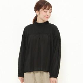 シャツ ブラウス レディース 重ね着に◎コットンボイルフリル襟ブラウス 「ブラック」