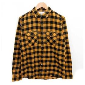 デラックス Deluxe ネルシャツ 長袖 チェック柄 黄色 黒 L サンプル品 /☆Q11 メンズ
