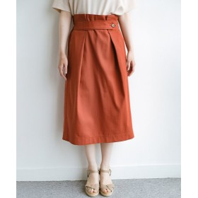ハコ ボタンがポイントのカジュアルにもきれいにもはけるセミタイトスカート レディース オレンジ S 【haco!】