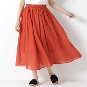 スカート レディース ロング インド綿素材のボイルフレアスカート 「オレンジ」