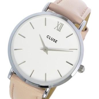 クルース CLUSE ミニュイ レザーベルト 33mm レディース 腕時計 CL30005 ホワイト/ピンク ホワイト