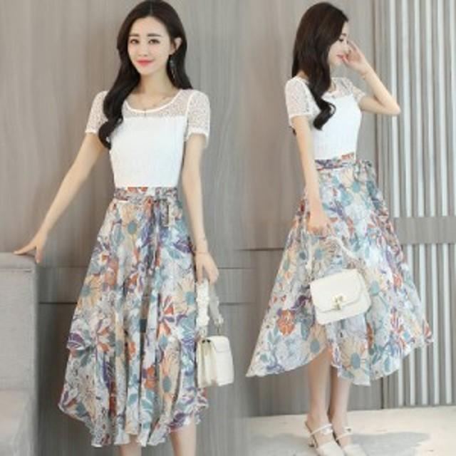 女性の長い夏のドレスの新しい韓國のレースのステッチシフォン気質のスカートのファッションビッグスイングスカート