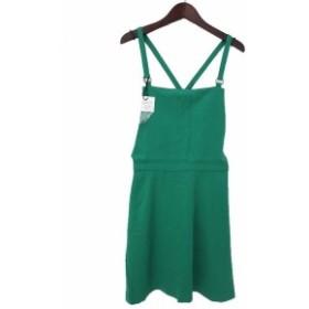 【中古】未使用 moussy マウジー シンプル サロペット スカート 2 グリーン レディース