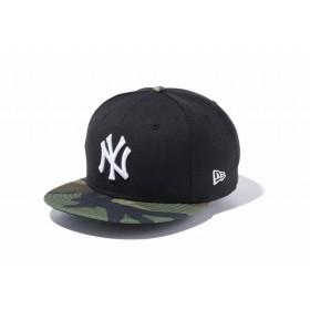 ニューエラ(NEW ERA) 9FIFTY ニューヨーク・ヤンキース ブラック × ホワイト ウッドランドカモバイザー 11433953