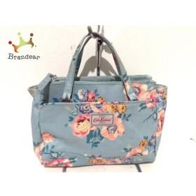 キャスキッドソン ハンドバッグ ライトブルー×ピンク×マルチ 花柄 コーティングキャンバス   スペシャル特価 20190907