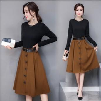 秋の新しい女性のドレス長袖の韓國のファッションスリムヒップスターのツーピーススーツのスカートの春と秋のモデル