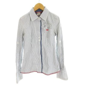 ヒルフィガーデニム HILFIGER DENIM 長袖 七分袖 シャツ heritage ストライプ 袖調節可能 ポケット 白 ホワイト 紺 ネイビー コットン XS 国内正規品 レディース