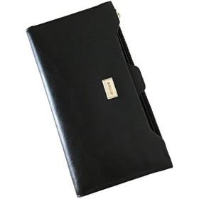 cerise de la saison レディース 長財布 財布 二つ折り 薄型 レザー ウォレット 大容量 シンプル カード収納 (ブラック)