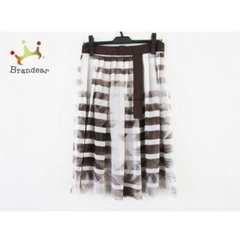 ランバンコレクション スカート サイズ40 M レディース 白×ダークブラウン リボン/シフォン スペシャル特価 20190824