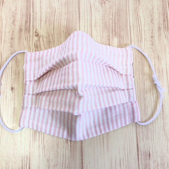 プリーツガーゼマスク/子供・大人用/小さめ/ピンクのストライプ