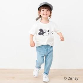 プティマイン/DISNEY ミッキーマウスデザイン星アップリケTシャツ