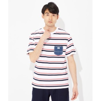 Lee デニムポケット付きTシャツ メンズ レッド*ホワイト